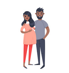 Young couple hand drawn black pregnant woman and vector