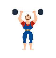 athlete showing strength exercises with barbell vector image vector image
