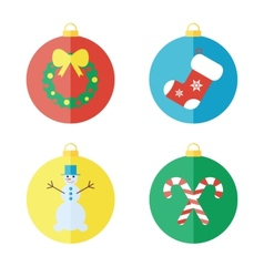 Set of Christmas icons flat icons vector image vector image