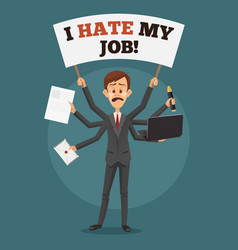 unhappy sad crying businessman with many hands vector image vector image