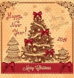 vintage card with christmas tree vector image vector image