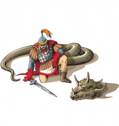 warrior and a giant snake vector image vector image