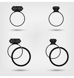 Wedding rings set vector image