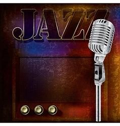 abstract jazz background with retro microphone and vector image vector image