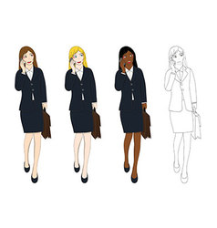 Business Woman Talking Phone Holding Bag vector image