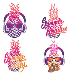 enjoy summer set of summer emblems pineapple with vector image
