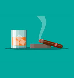 glass of whiskey with cigar vector image