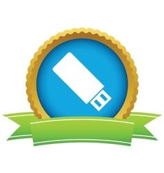 Gold usb stick logo vector image