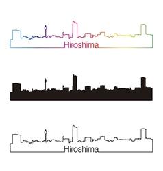 Hiroshima skyline linear style with rainbow vector image