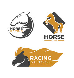 horse racing club and school isolated logos set vector image vector image