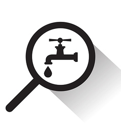 magnifying glass with faucet icon vector image