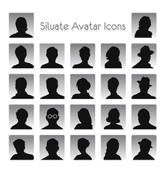 Set of silhouettes of avatar vector image vector image