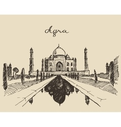 Taj Mahal located Agra Uttar Pradesh India sketch vector image