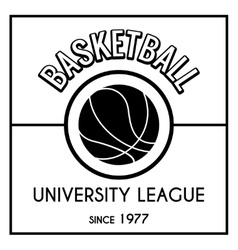 Black and white basketball emblem vector image