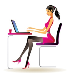 Business woman with laptop in office vector image vector image