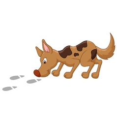 Cute dog cartoon sniffing vector