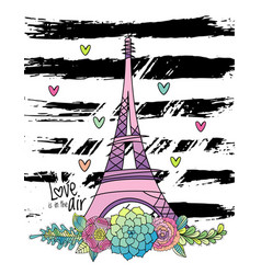 hand drawn floral love card eiffel tower vector image vector image