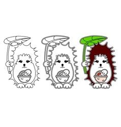 hedgehog coloring vector image vector image