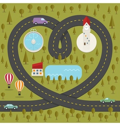 Road in the shape of heart vector image vector image