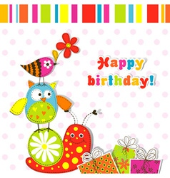 scrapbook birthday greeting card vector image vector image