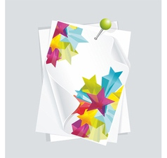 white paper 3d glass stars vector image