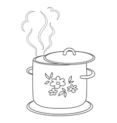 Boiling pan with pattern contours vector image
