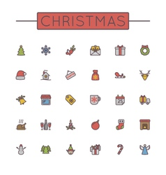 Colored christmas line icons vector