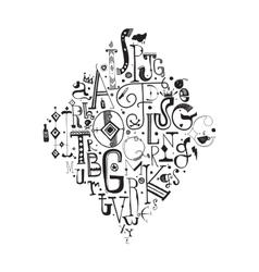 Decorative alphabet Hand drawn letters vector image