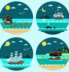Flat design of pirate ships sailing vector
