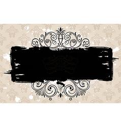 Grunge black banner with old background Vintage vector image