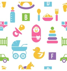 Newborn and toys background vector image