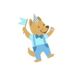 Puppy Cute Animal Character Attending Birthday vector image vector image