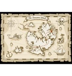Treasure pirate hand drawn map vector image