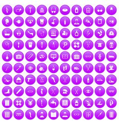 100 disabled healthcare icons set purple vector image