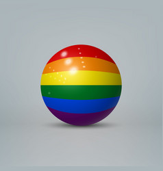 3d ball with flag of lgbt pride template vector