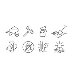 Agriculture and gardener growing plants set vector