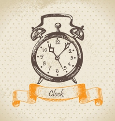 Alarm clock hand drawn vector