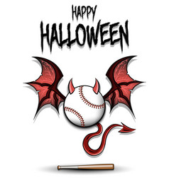 Baseball ball with horns wings and devil tail vector