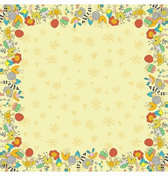 Beige card with flowers vector image