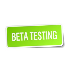 Beta testing green square sticker on white vector