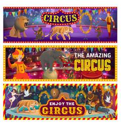 Big top circus arena clowns tamer wild animals vector