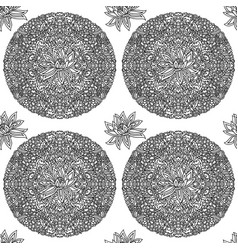black and white seamless pattern with lotus vector image