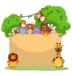 Blank paper with many wild animals vector