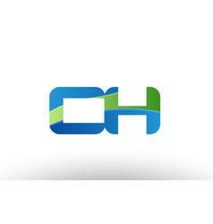 Blue green ch c h alphabet letter logo vector
