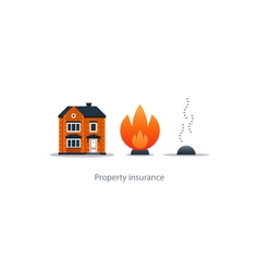 Burning fire building insurance safety concept vector image