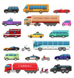 Cartoon bikes trucks and public transport vector
