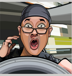cartoon man driving exclaims in surprise vector image