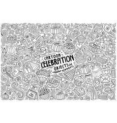 cartoon set celebration theme items objects vector image