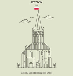 Cathedral basilica in szczecin vector