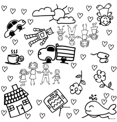 Children doodle drawing of a family group vector image